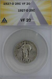 1927-D  .25  ANACS   VF 20   Standing Liberty Quarter, Liberty 25 Cents