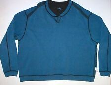 Mens XXL Tommy Bahama LS Reversible Brown Blue Cotton Sweater