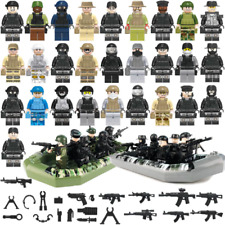 28pcs Special Forces Swat Army Police Military+Boat Mini Figures Fit Lego