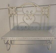 SHABBY CHIC WHITE METAL WALL SHELF WITH TOWEL RACK