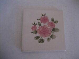 Off White & Pink Floral Ceramic Square Trivet 6 inch Square NWNT