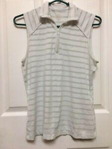 Docker's Women's White Grey Stripe Sleeveless Golf Shirt Size M 1/4 Zip #57