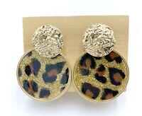 Ohrringe Frau Golden Und Leopard Rund Neue Schmuck Damen-Accessoires Mode