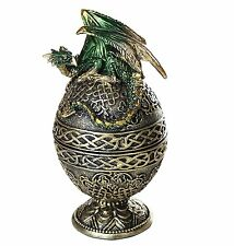 "Dragon Protector of the Golden Celtic Egg Orb Sculptural Box 6.5""  **In Stock**"