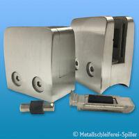 V2A Edelstahl Glashalter 52x52mm Sicherungsstift & /-platte Glasklemme 8-12,76mm