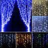 96/128/216 LED Icicle Hanging Curtain Fairy String Lights Tree Christmas Wedding