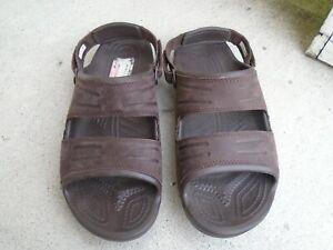 Mens Crocs brown leather upper slingback sandals sz 13