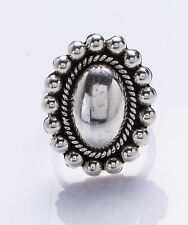 STERLING SILVER BEAD BUTTON RING - SIZE 10 - SIGNED CII