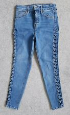 Topshop Jamie High Rise Super Skinny Mid Blue Lace Up Stretch Jeans 6 W25 L30