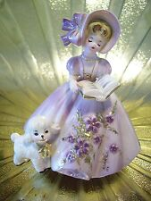 RARE VTG Josef Original's Mary Had a Little Lamb Music Box Girl Easter Figurine