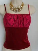 MISS SELFRIDGE Red Velvet & Lace Strappy Top - NEW - SIZES 10 only