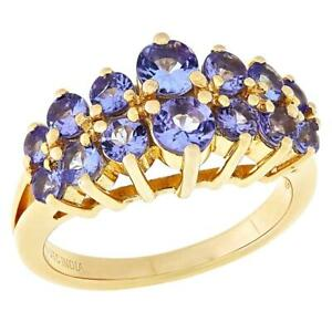 Paul Deasy Gem Gold-Plated Round Tanzanite Gemstone Two-Row Ring Size 8 Hsn
