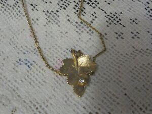 Vintage Avon Gold Tone Leaf Pendant With Single Clear Stone, 16-Inch Chain