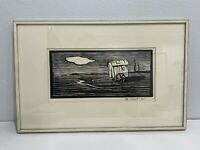 Vintage Antique Signed Woodcut / Woodblock Print of Wagon Possibly German