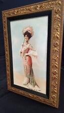 Cuadro Retrato Mujer Litografia Carton Marco Oro Romanticismo Dama Belle Epoque