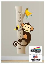 Monkey Wall Decal Growth Chart Deco Art Sticker Mural by Digiflare Graphics