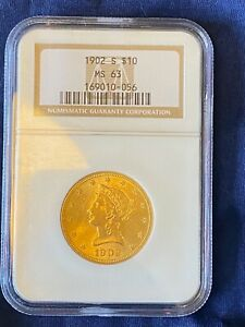 1902-S $10 Uncirculated Liberty Head Gold Eagle, NGC MS-63