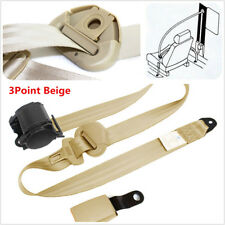 NEW 3 Point Retractable Belts Lap Safety Belt Seatbelts w/ Curved Rigid Buckle
