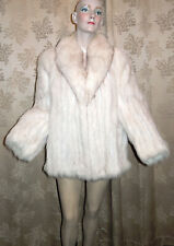 Finland Arctic White Fox Fur & White Suede Leather Jacket Coat Womens Size 16