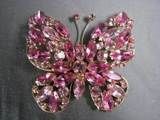 Huge Vintage Signed Regency Brooch Hot Pink Old Rhinestone Butterfly Pin