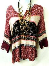 Maurices maroon pink plus size floral crochet trim crinkle v-neckline top 0, XL