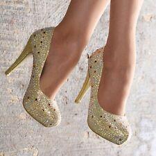 Señoras Diamante Tribunal Zapatos De Tacones Altos Sexy de Fiesta noche bombas tamaño de la plataforma