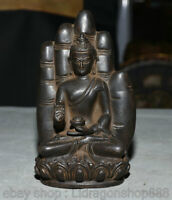 "6.4 ""siège du bouddhisme tibétain Shakyamuni Amitabha Buddha Sculpture à la main"