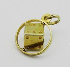 Nice 9ct Gold Revolving Dice Charm. 2.3 Grams.