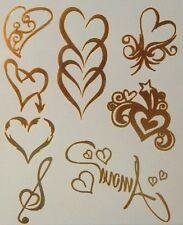 GT13-Temporary Flash Gold Jewelry Tattoo- Hearts