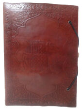 Vintage Genuine Leather Writing Notebook Blank Journal Antique Diary Brown D9