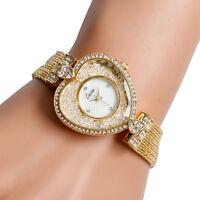 Casual Rhinestone Golden Heart Shape Alloy Strap Women Wrist Watch Bracelet Gift