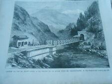 Gravure 1872 - Chemin de Fer Mont Cenis La Vallée de la Doire Salbertrand
