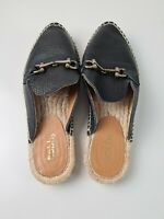 Hobbs Black Soft Leather Espadrilles Flat Mule Shoe Women's Size EUR 38 SPAIN