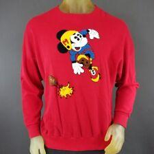 Rare VTG Mickey Mouse Football Medium Sweater Walt Disney Red Comic Relief D5