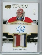 17/18 Exquisite Collection Carey Price Endorsement Relics Patch Auto #'ed 12/25