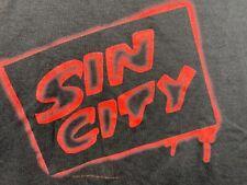 Vintage T Shirt Sin City New Black Large Ss Cotton Usa Anvil