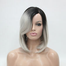 Ombre Gray Black Root Hand tied Invisible L Part Wig Straight Bob wig Heat ok
