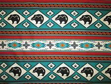 Navajo Native American Totem Bear Border Green Cotton Fabric BTHY