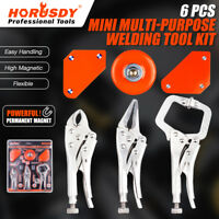Magnets Welder Arc Tig Mig Welding Holder Locking Pliers Curved Jaw C-Clamp Kit