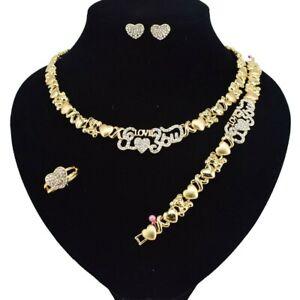 Women Hugs & KISSES set teddy bear necklace bracelet earrings ring xo 18k #8