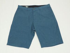 Volcom Vmonty Stretch Blue Casual Flat Walk Chino Shorts Mens 34