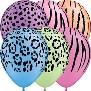 Safari assortment/animal print latex balloons x 5