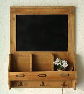 Wooden Chalkboard Blackboard Message Board  with Key Coat Hooks + Post Space