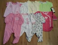 Newborn, 0-3, 3 Months Variety Baby Girl Clothing Used One Piece, Sleeper LOT 8