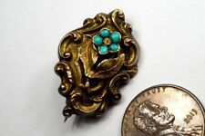 Forget Me Not Locket Brooch c1850 Antique English 15K Gold Turquoise Pansy /