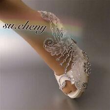 "3"" 4"" heel satin white ivory lace crystal open toe Wedding shoes bride size 5-11"