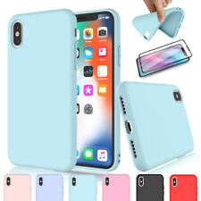 Liquid Silicone Case With Screen Protector for iPhone XR XS Max 6 7 8 Plus Cover