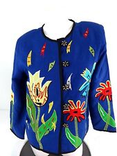 INDIGO MOON WOMENS BLUE COTTON RAYON LINEN APPLIQUED FLORAL JACKET SIZE XS