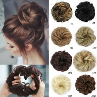 Easy to Wear Real Thick Curly Messy Bun Hair Piece Scrunchie Hair Extensions