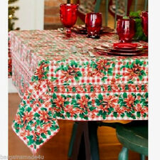 "April Cornell Holiday Christmas Poinsettia Check Tablecloth 100% Cotton 54""x90"""